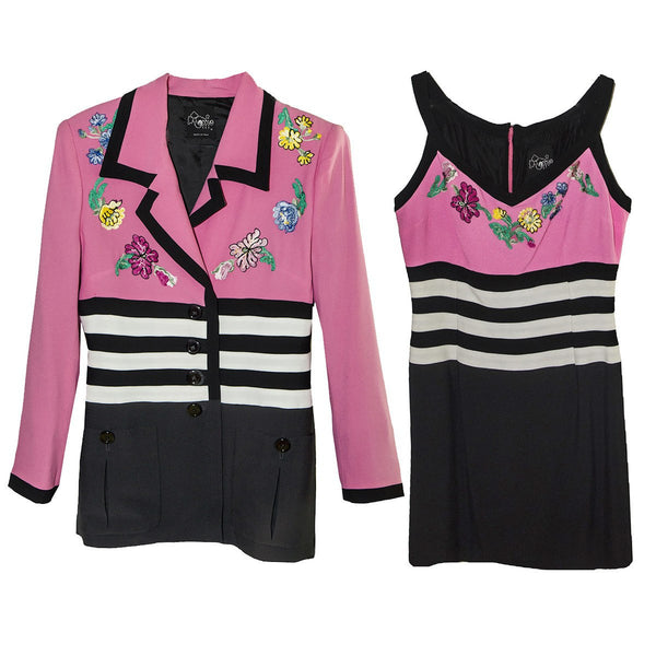 Pink & Black Women's Tank Dress & Jacket, Floral Embroidery
