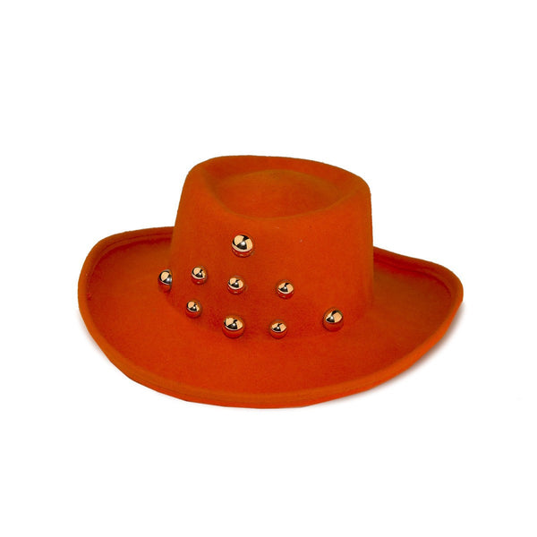 1970s Orange Wide Brim Hat, Molded Wool Felt, Large Gold Studs