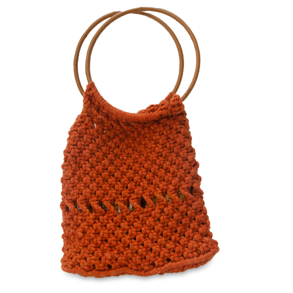 Vintage Macrame Handbag, Dark Orange 2