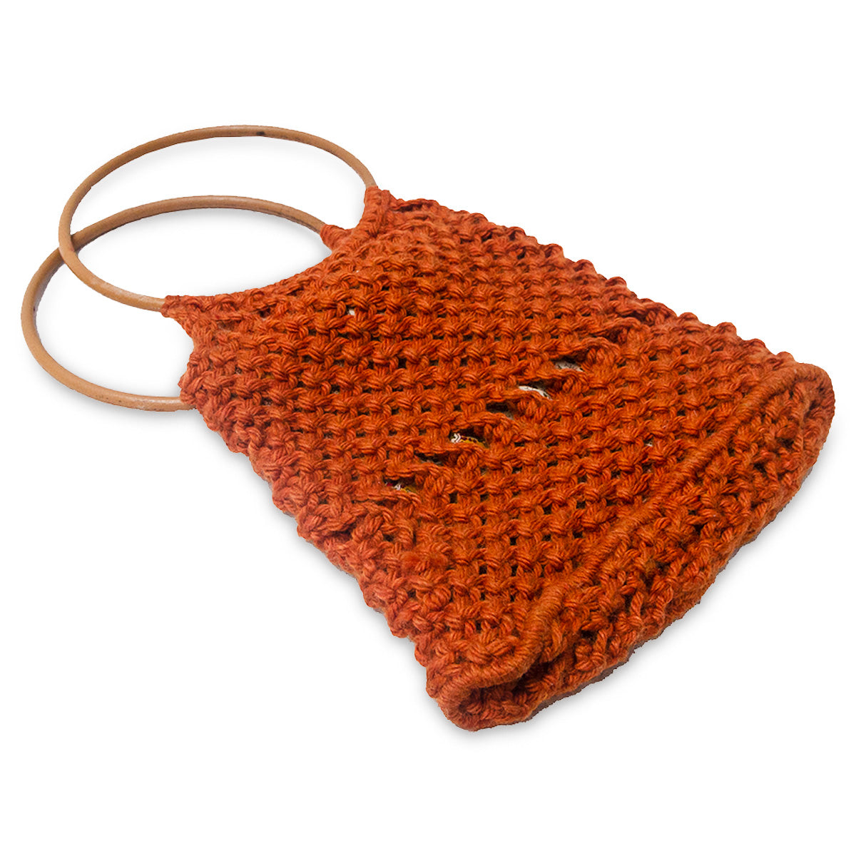 Vintage Macrame Handbag, Dark Orange 3