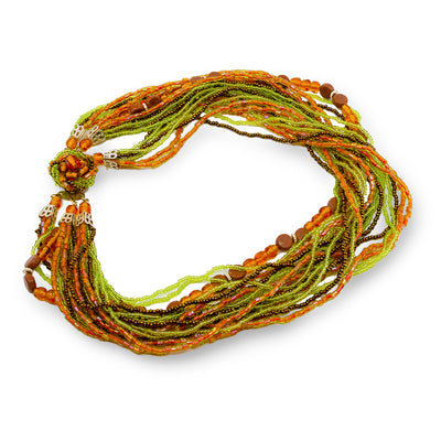 Mid-Century Orange and Green Glass Beade Torsade Necklace