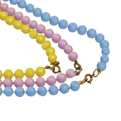 1960s Beaded Necklace Set 8, Pastel Beads in Blue, Pink, Yellow & White
