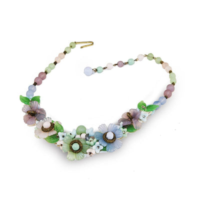 Vintage Glass Flower Choker Necklace & Bracelet Set 3, Prewar Germany