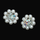 Mid Century Faux Pearl Earrings 3, Aurora Borealis Bead Centers