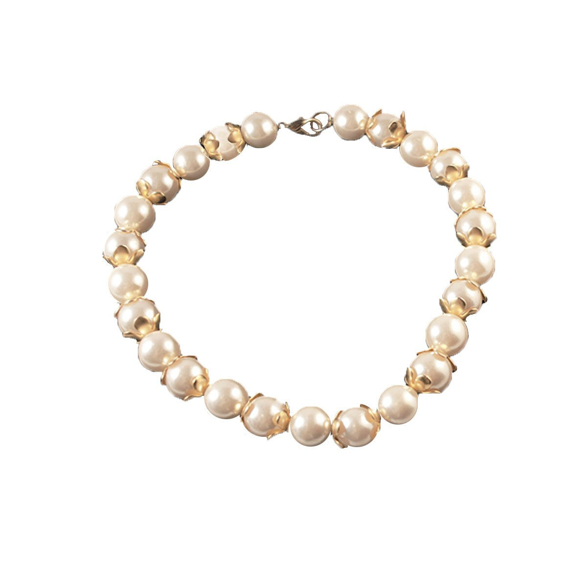 Large Pearl Choker Necklace, Gold Floral Spacer Beads, 16
