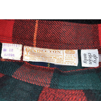 Pendleton Long Wool Skirt, Red Plaid Tartan