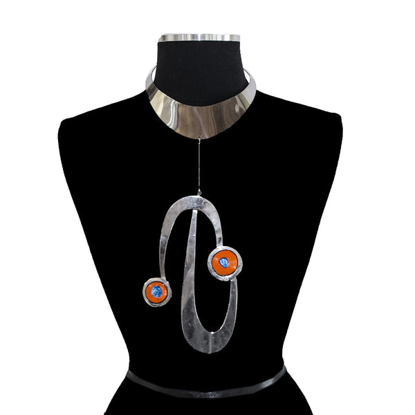 Pierre Cardin Chrome Bib Necklace with Enamel Pendants, circa 1969