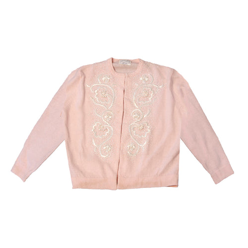Vintage 60s Pink Cardigan Sweater, White Floral Embroidery