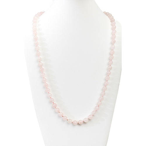 Rose Quartz Beaded Necklace, Pink Beads, 30""