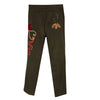 Polyvere Italy Olive Green Pants with Abstract Beading & Applique, Size 44