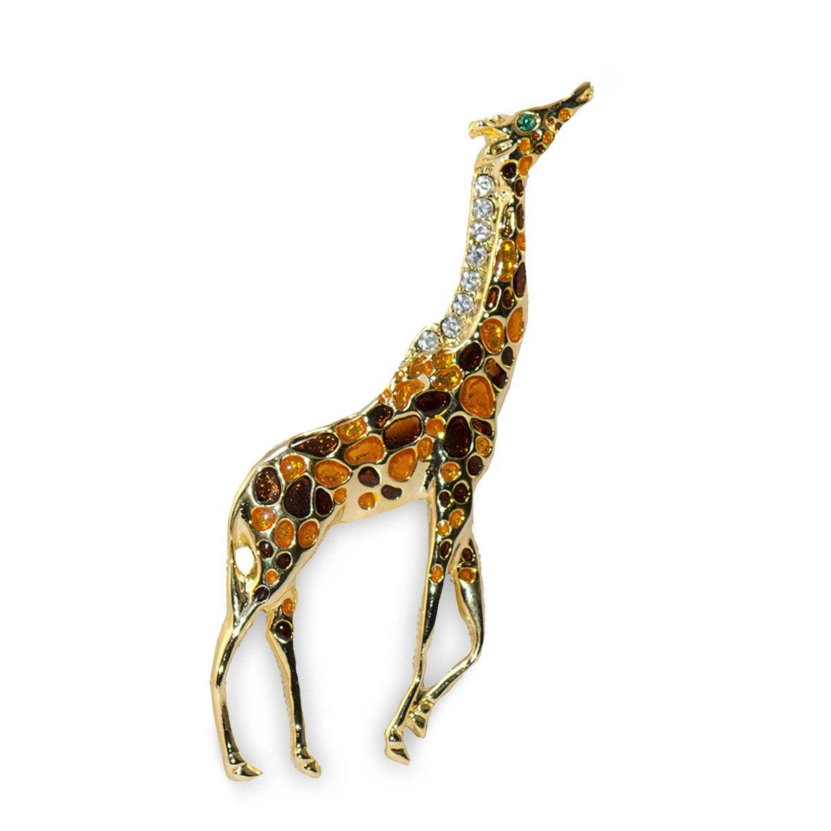 Poured Glass Giraffe Brooch, Rhinestones, Gold Metal