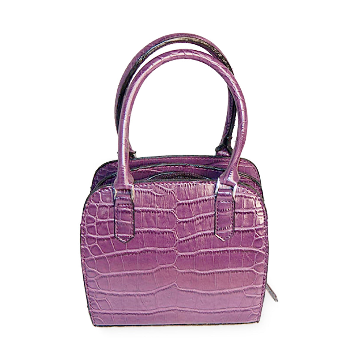 Small Purple Handbag, Faux Alligator Purse, New Old Stock