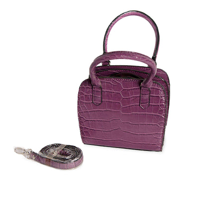 Purple shoulder bag, fake alligator bag