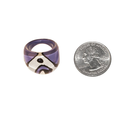Purple Bubble Ring 4, Abstract Design, Ring Size 5