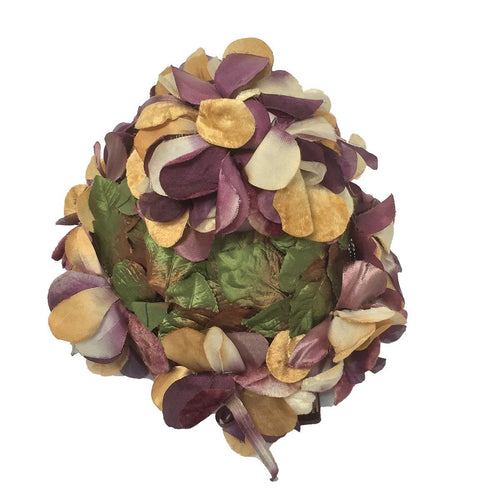 Vintage Floral Hat 2, Gold & Purple Flowers, Hat Size 22