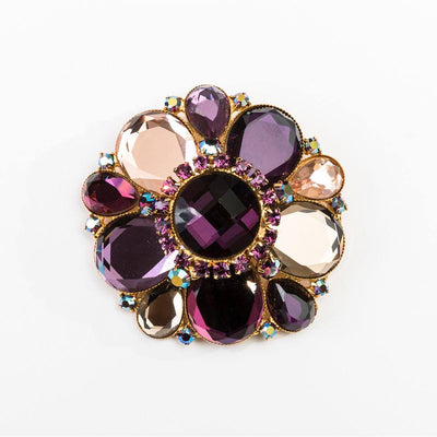 Vintage 80s Purple Dome Brooch, Aurora Borealis Rhinestones & Glass