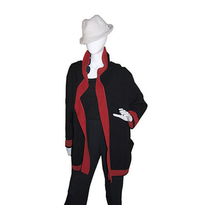 Vintage Italian Color Knit Cardigan, Self Hood, Red, Black & White Color Block 3