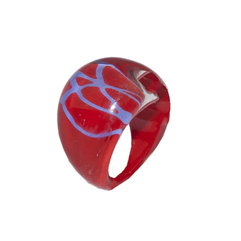 Bubble Ring, Abstract Pattern in Red & Blue, Ring Size 5