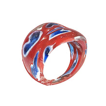 Red & Blue Modernist Glass Ring, Size 7