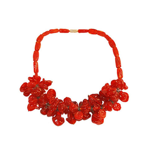 Modernist Czech Glass Cluster Bead Necklace