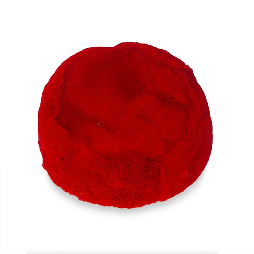 1960s Red Fur Pillbox Hat, Ambrose New York, Dyed Rabbit