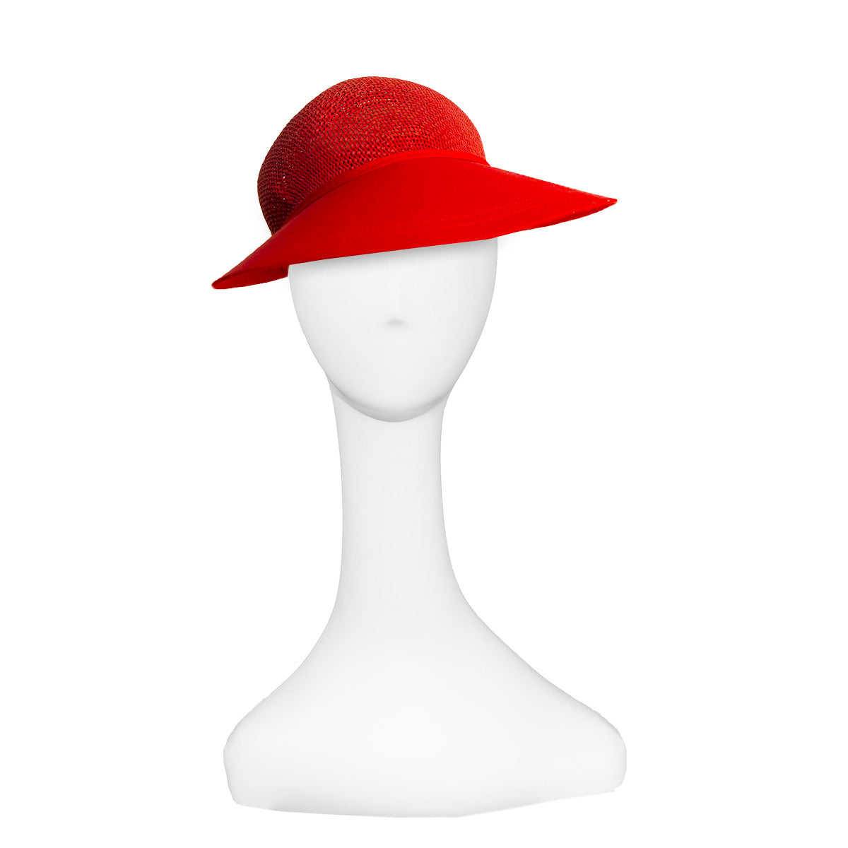 Ladies Red Straw Visor Cap 2, Fits Most