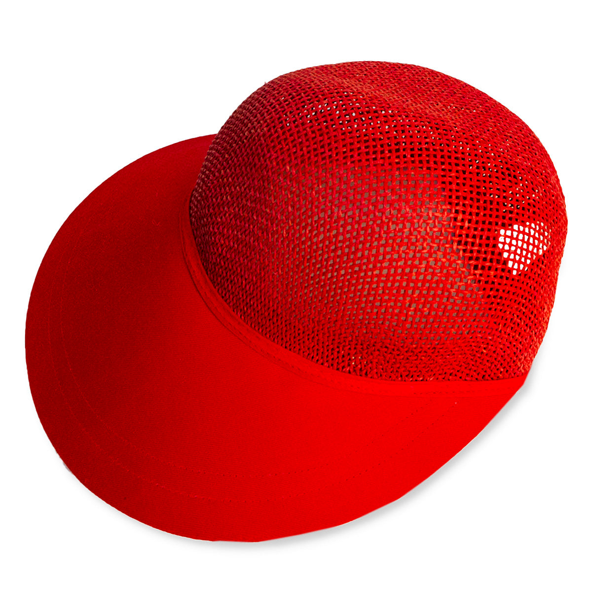 Ladies Red Straw Visor Cap, Fits Most