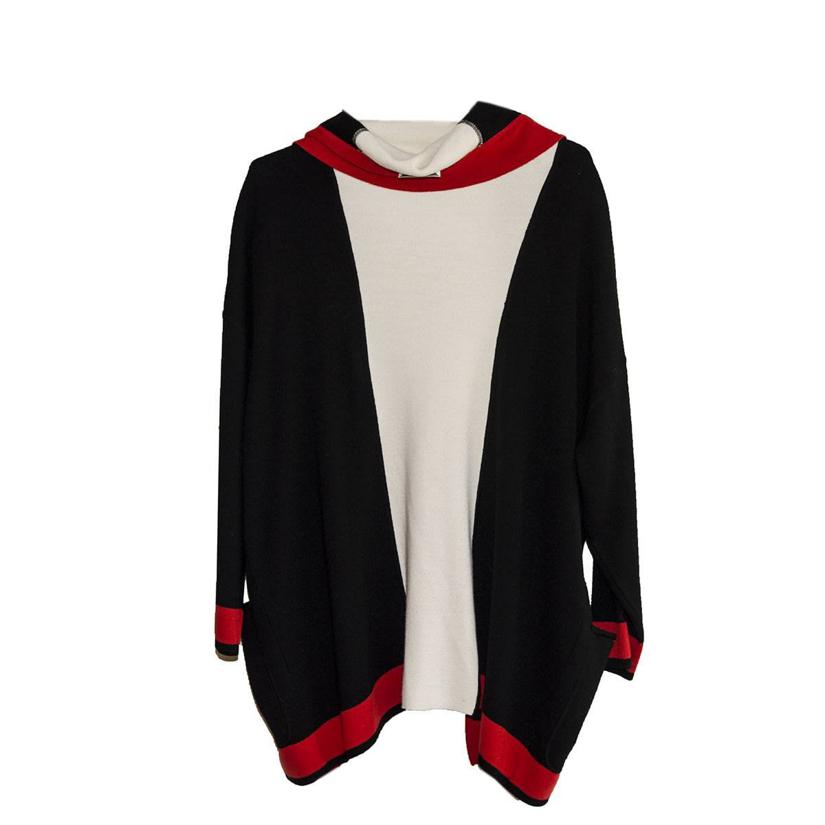 Vintage Italian Color Knit Cardigan, Self Hood, Red, Black & White Color Block 8