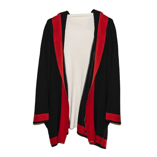 Vintage Italian Color Knit Cardigan 7, Self Hood, Red, Black & White Color Block 3