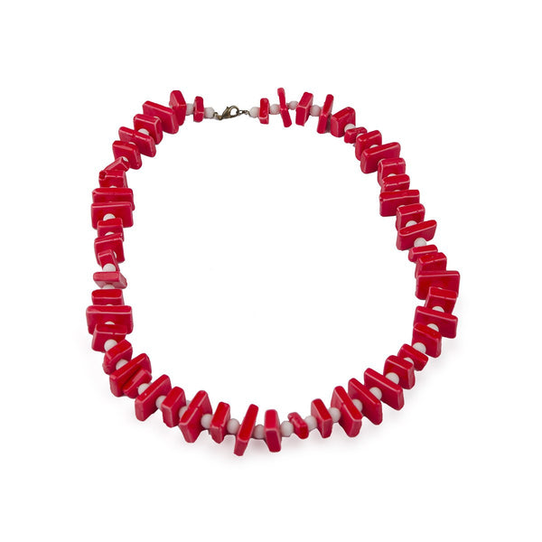 1960s Mod Stacked Red & White Bead Necklace, 21