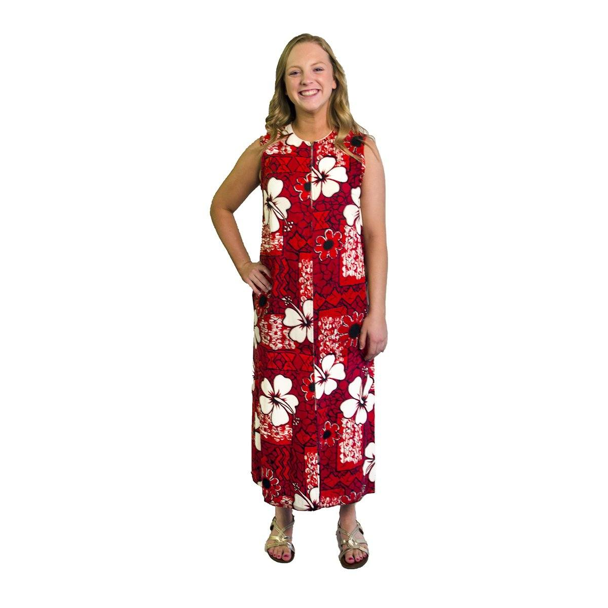 1960s Maxi Dress, Red & White Floral Print, Size Medium