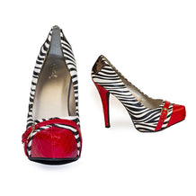 Zebra Stiletto Pumps, Red Faux Alligator Trim, Size 8