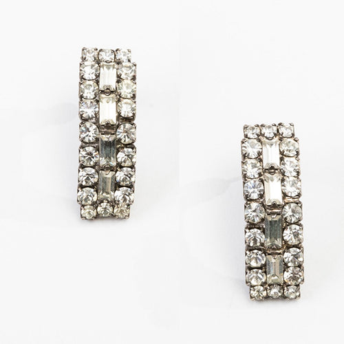 Vintage 80s Crystal Pierced Earrings