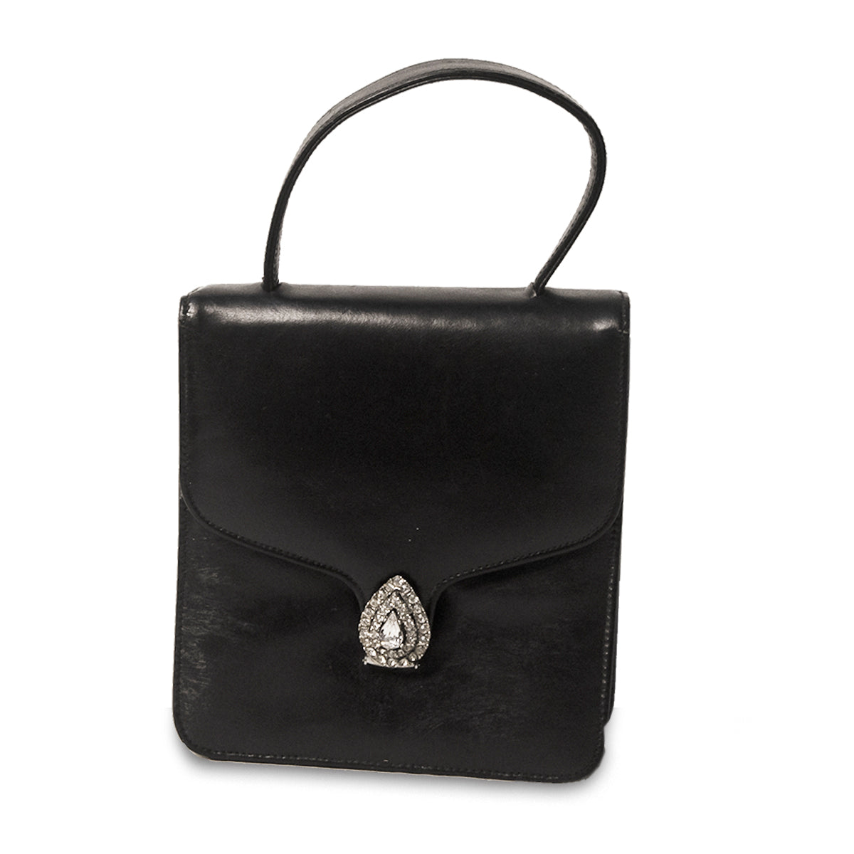 1950s Black Cocktail Bag, Rhinestone Closure