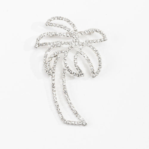 Vintage 80s Rhinestone Palm Tree Brooch