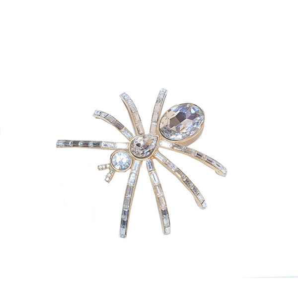Rhinestone Spider Shoulder Brooch