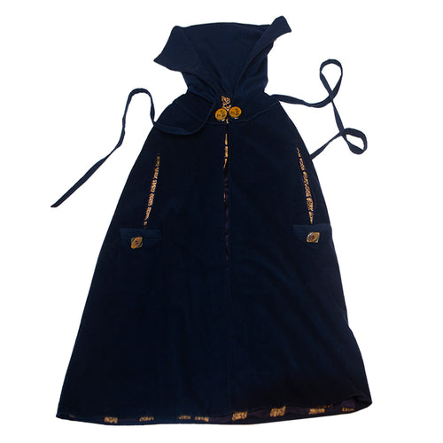 1920s Blue Cape, Riding Hood Style, Wool with Silk Lining, Celluloid Buttons