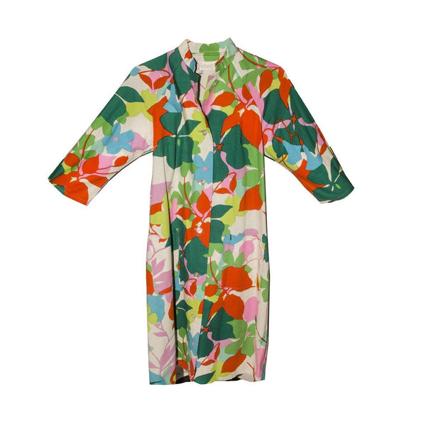 1970s Robert F. Bold Floral Print Shift Dress