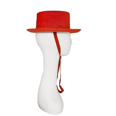 Vintage Orange Wide Brim Hat, Adjustable Tie, Ruth Gallin Millinery, Hat Size 20.5