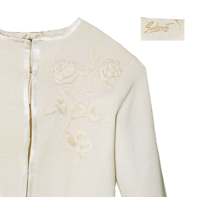 Sakowitz Vintage 60s Cream Cardigan Sweater 3, Large Embroidered Roses