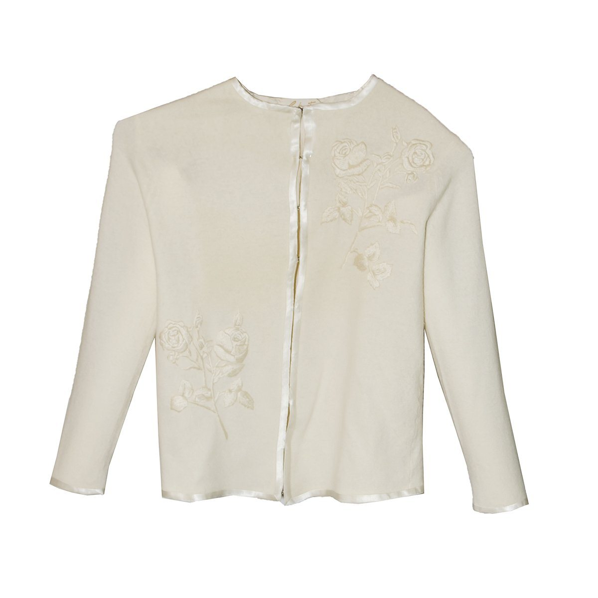 Sakowitz Vintage 60s Cream Cardigan Sweater, Large Embroidered Roses