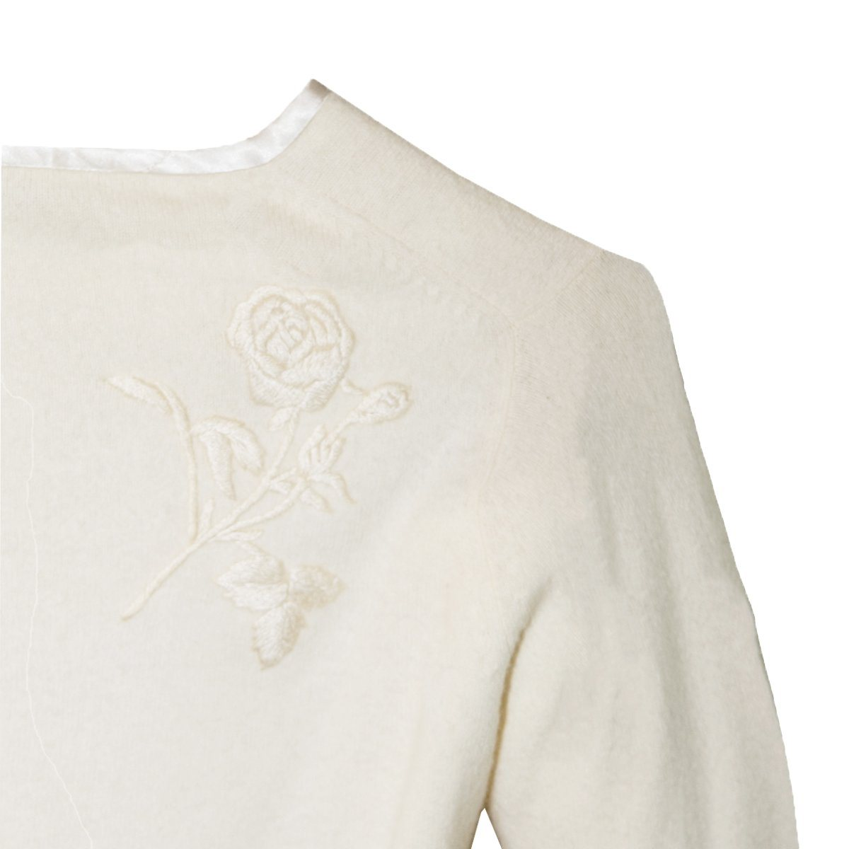 Sakowitz Vintage 60s Cream Cardigan Sweater 5, Large Embroidered Roses