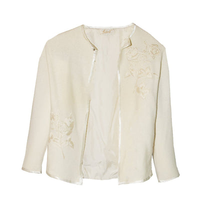 Sakowitz Vintage 60s Cream Cardigan Sweater 2, Large Embroidered Roses