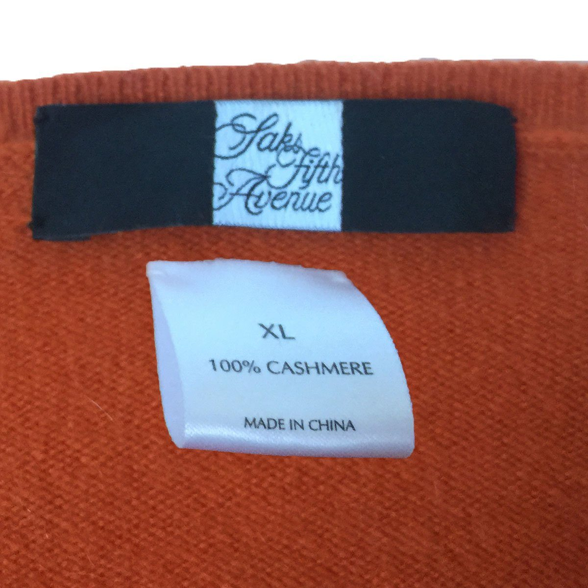 Saks Fifth Avenue Cashmere Sweater, V-Neck, Extra Large