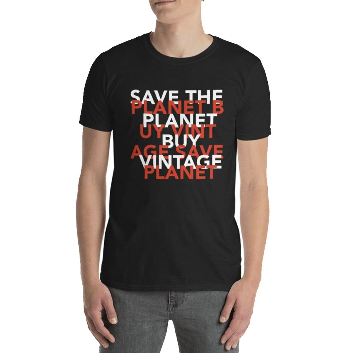 Save The Planet Buy Vintage Black T-Shirt