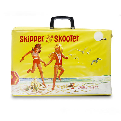 1960s Skipper & Scooter Barbie Doll Travel Case, Yellow Hard Case Vinyl