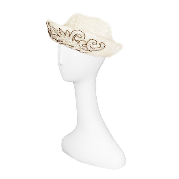 1950s Sequined Cream Cocktail Hat by Marche