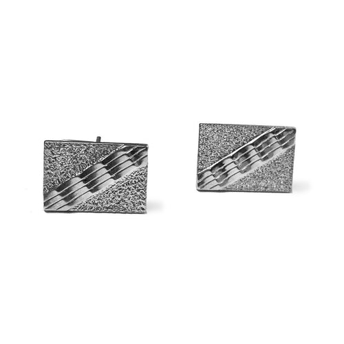 Art Deco Silver Metal Cuff Links