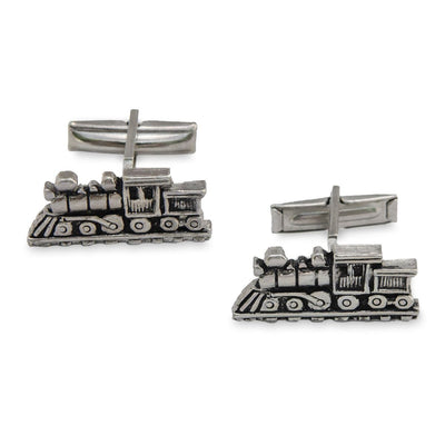 Vintage Silver Metal Train Cufflinks