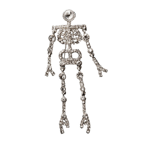 Halloween Skeleton Pin, 1980s Rhinestone Brooch